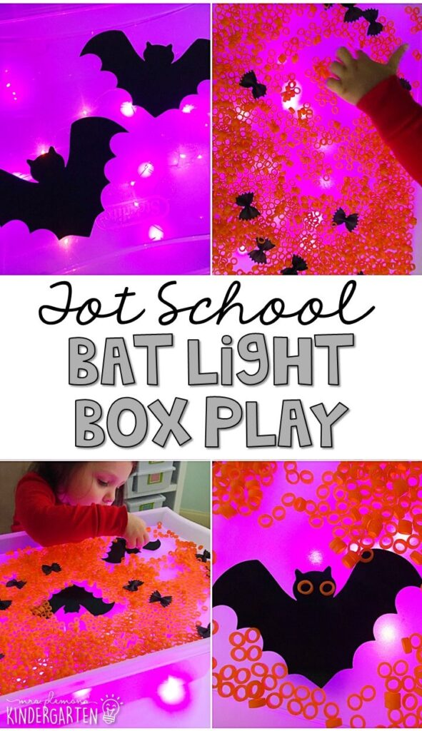 We LOVE this bat themed light table. So many fun ways to play and explore! Great for tot school, preschool, or even kindergarten!