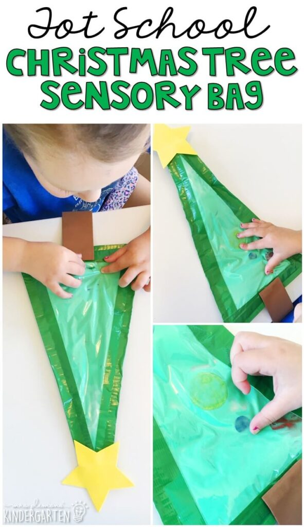 This Christmas tree sensory bag is a fun hide and seek mess free sensory play activity. Great for Christmas time in tot school, preschool, or even kindergarten!