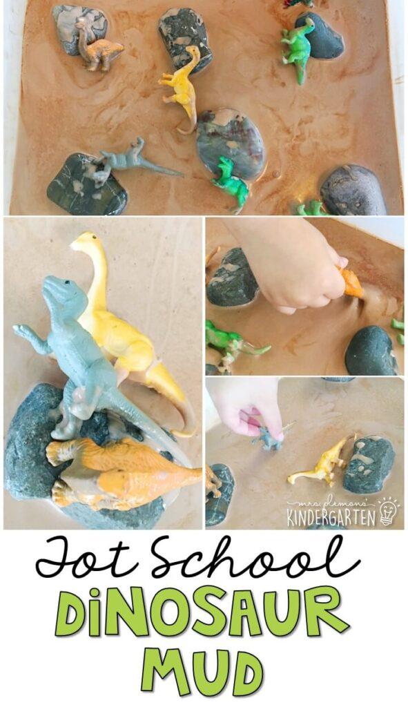 We LOVE this dinosaur mud sensory bin. Great for tot school, preschool, or even kindergarten!