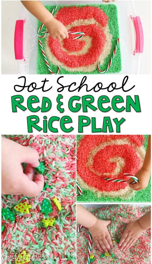 We had so much digging in this peppermint rice sensory bin. Great for Christmas time in tot school, preschool, or even kindergarten!