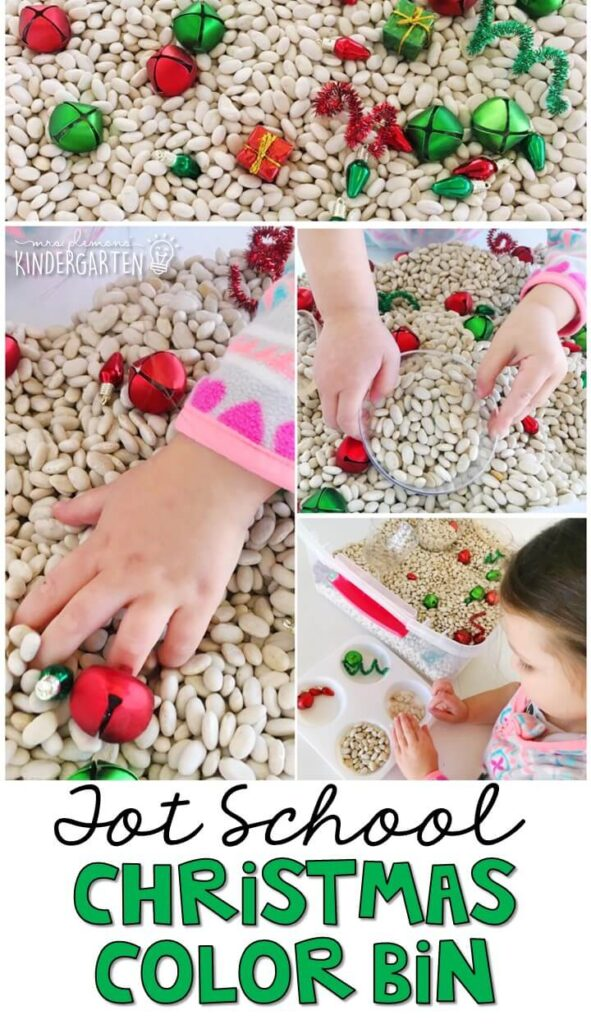 We LOVE this Christmas color sorting sensory bin. Great for Christmas time in tot school, preschool, or even kindergarten!