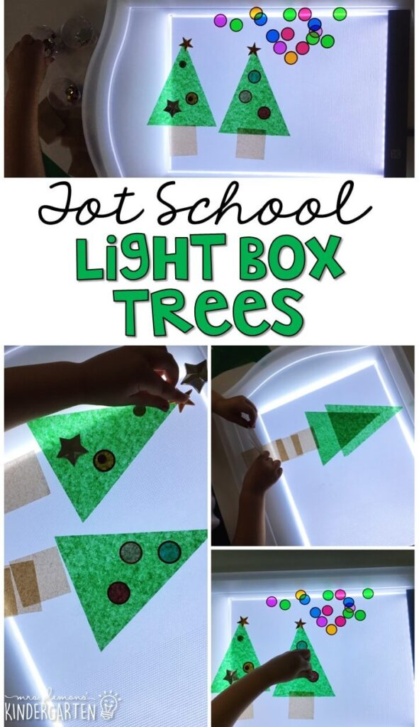 We LOVE this Christmas light box sensory activity. Great for Christmas time in tot school, preschool, or even kindergarten!