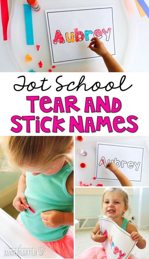 Tear and stick names are the perfect activity for fine motor practice with an all about me theme. Great for tot school, preschool, or even kindergarten!