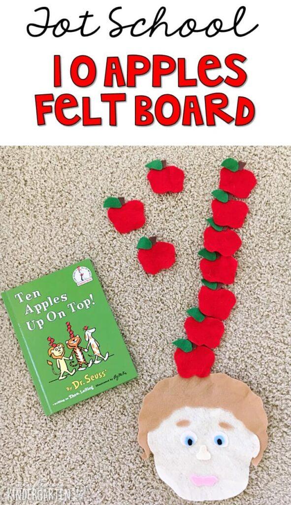 This 10 apples up on top felt board is great retelling practice for tot school, preschool, or even kindergarten!