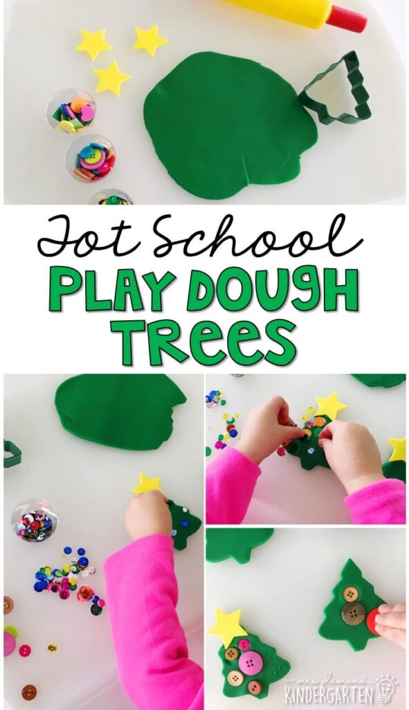We LOVED making these play dough Christmas trees. Great for Christmas time in tot school, preschool, or even kindergarten!