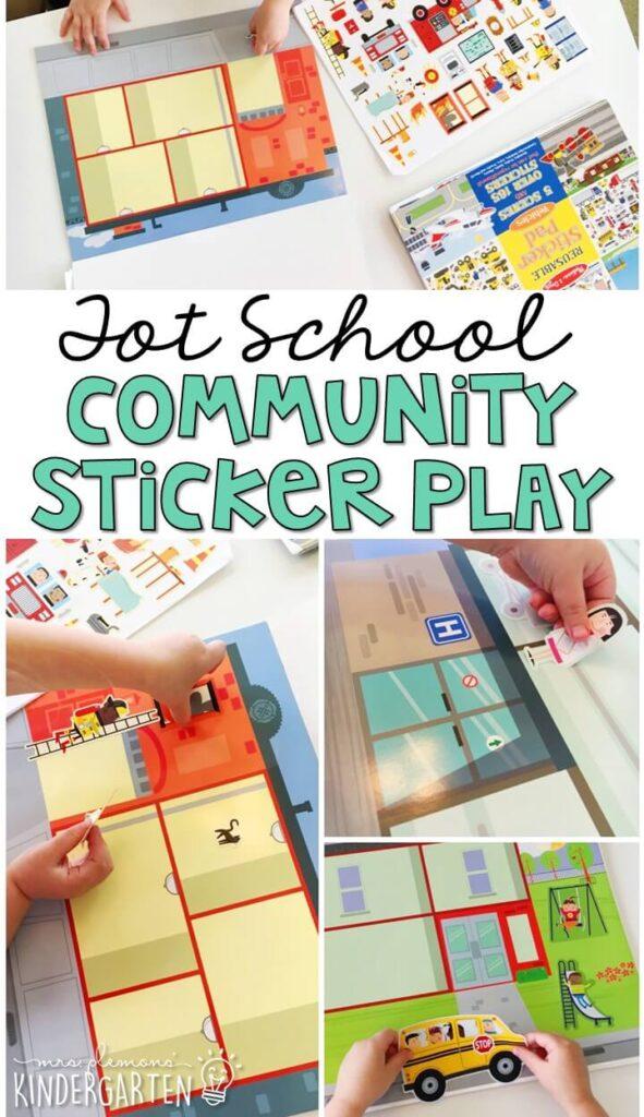 We LOVE these reusable sticker scenes from Melissa & Doug for fine motor practice with a community theme. Great for tot school, preschool, or even kindergarten!