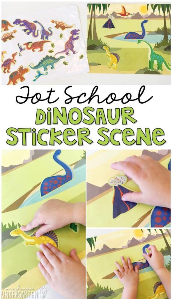 We LOVE these reusable sticker scenes from Melissa & Doug for fine motor practice with a dinosaur theme. Great for tot school, preschool, or even kindergarten!