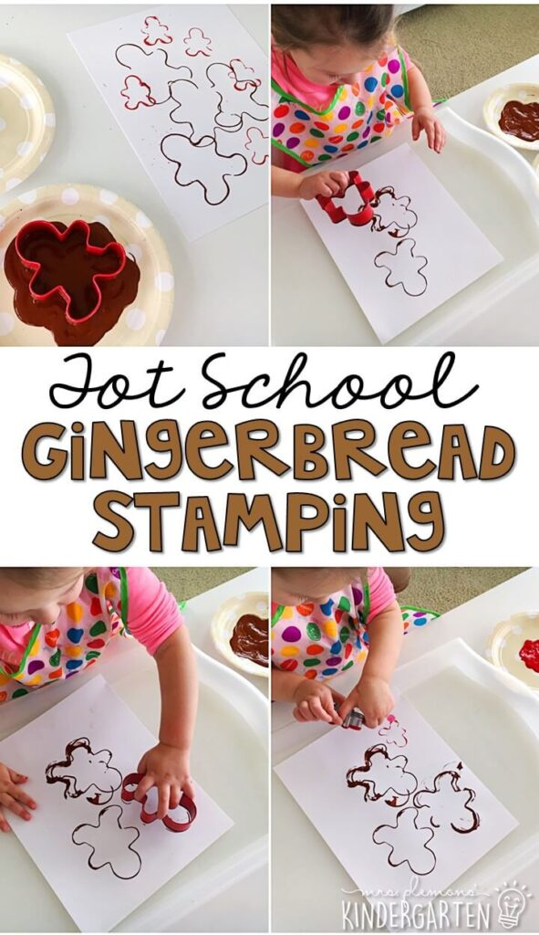 Painting with cookie cutters is a super easy low prep activity. We loved stamping gingerbread men for fine motor practice with our gingerbread theme. Great for Christmas time in tot school, preschool, or even kindergarten!