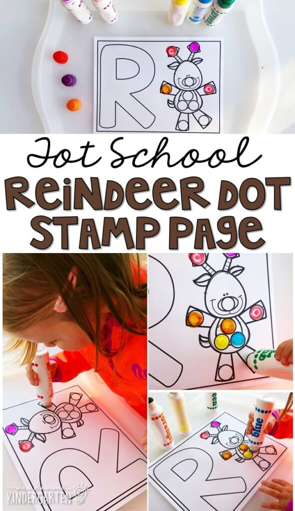 We LOVE dot stamps for fine motor practice. Grab these printables with a reindeer theme. Great for Christmas time in tot school, preschool, or even kindergarten!