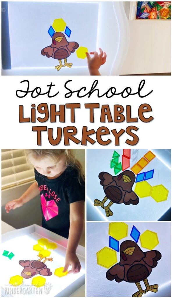 We LOVE playing on our light table and had so much fun building these little turkeys. Great for a Thanksgiving theme in tot school, preschool, or even kindergarten!