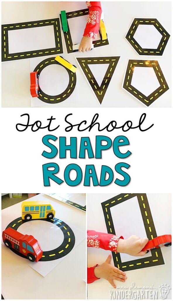 We had so much fun practicing our shapes with these shape roads for our transportation theme. Great for tot school, preschool, or even kindergarten!