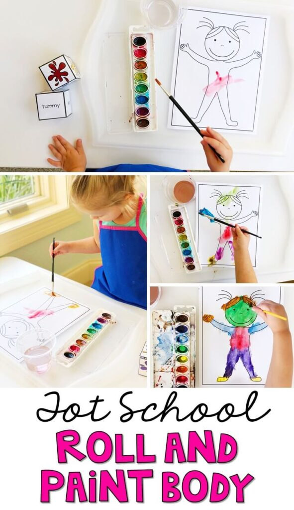 This Roll and Paint Body activity is a great way to practice identifying body parts and fine motor skills with an all about me theme. Great for tot school, preschool, or even kindergarten!