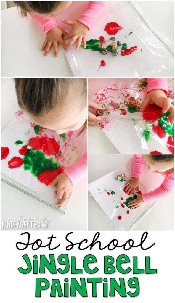 This jingle bell painting was such a fun and mess free way to get our fine motor practice in with a Christmas theme. Great for tot school, preschool, or even kindergarten!