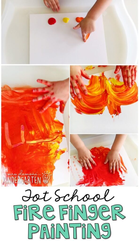 This fire finger painting activity was such a fun way to get our fine motor practice in with a community theme. Great for tot school, preschool, or even kindergarten!