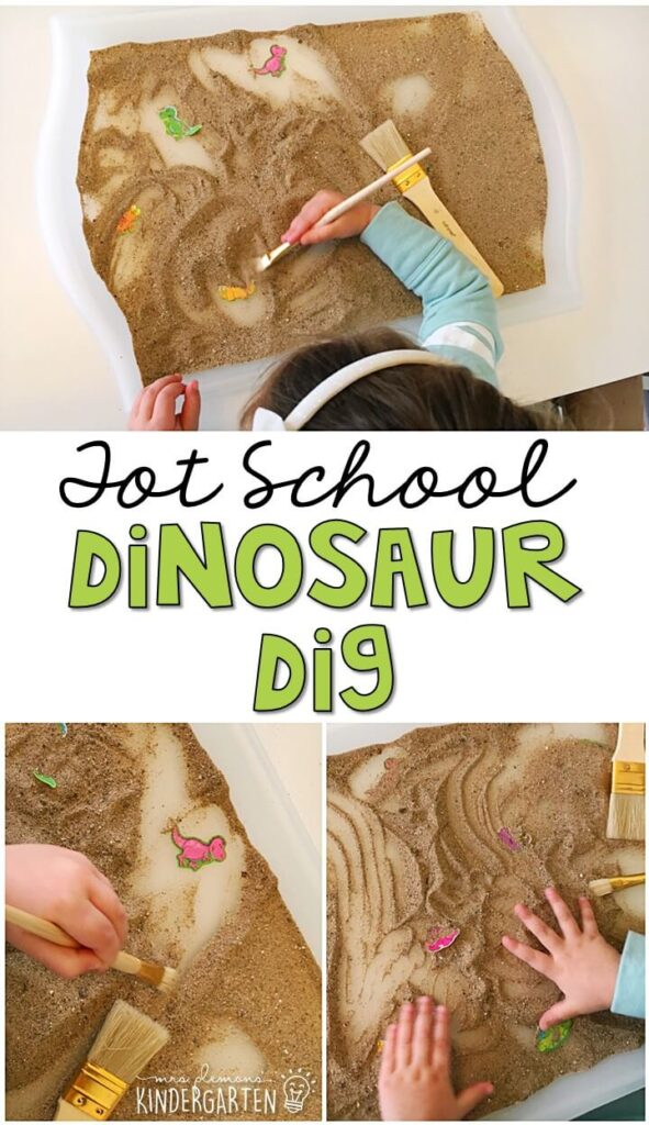 This dinosaur dig was such a fun way to get our fine motor practice in with a dinosaur theme. Great for tot school, preschool, or even kindergarten!