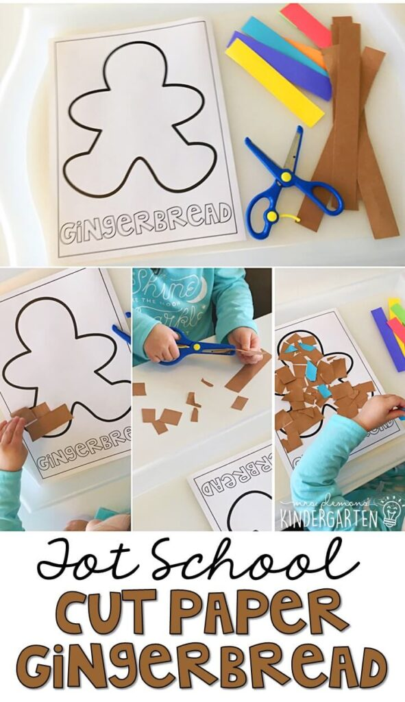 We had so much fun cutting, tearing and gluing for fine motor practice with a gingerbread theme. Great for tot school, preschool, or even kindergarten!