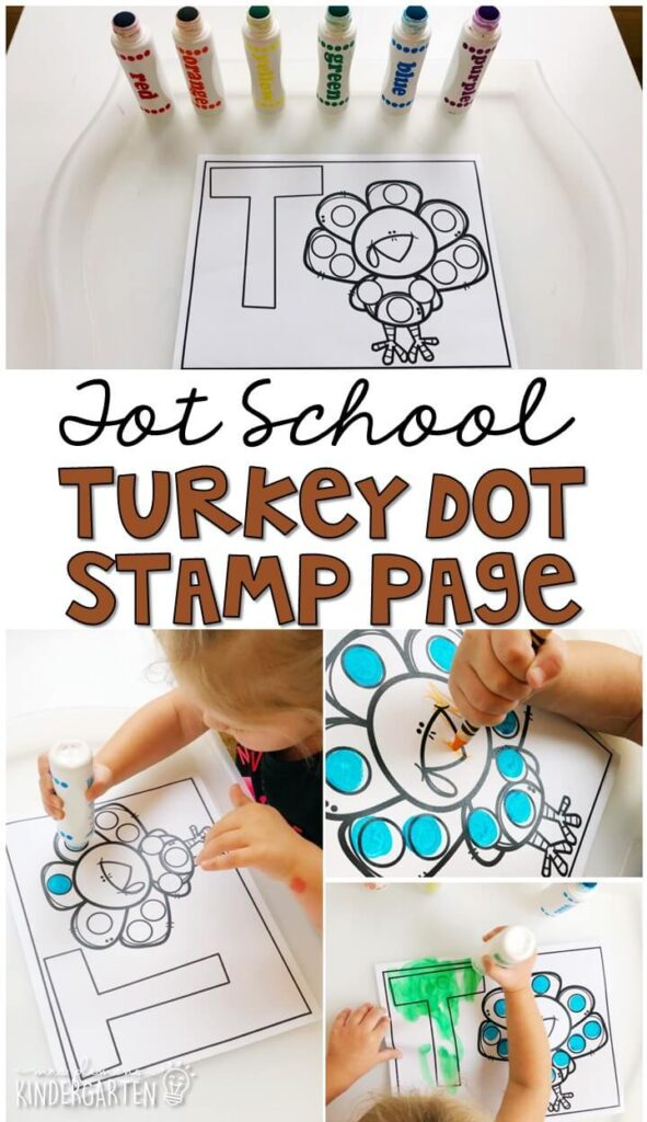 This turkey dot stamp page was a fun and easy way to get our fine motor practice in with a Thanksgiving theme. Great for tot school, preschool, or even kindergarten!