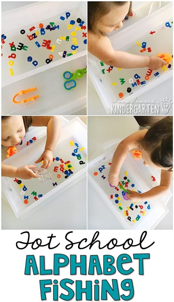 We had so much fun practicing our letters with this alphabet fishing activity for our transportation theme. Great for tot school, preschool, or even kindergarten!