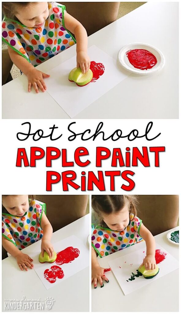 Apple prints are fun for fine motor practice with an apple theme. Great for tot school, preschool, or even kindergarten!