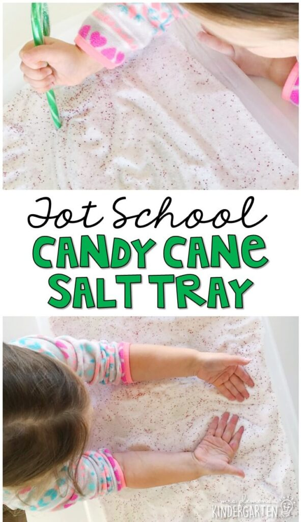 This candy cane salt tray was great for writing and fine motor practice. Great for Christmas time in tot school, preschool, or even kindergarten!