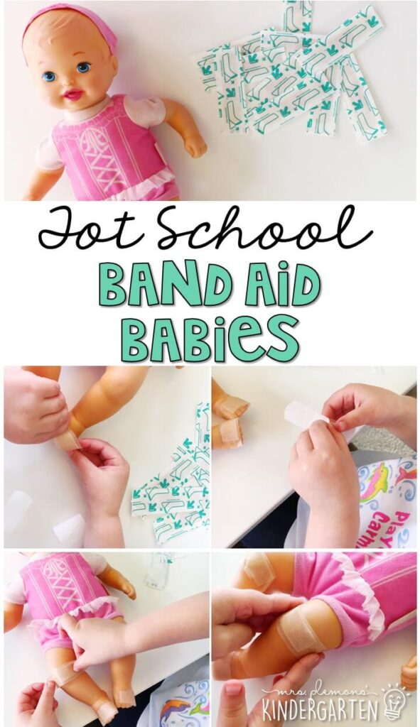 Are your kids obsessed with band aids? This band aid baby activity was so engaging for my kids and incorporated lots of great fine motor practice. Great for tot school, preschool, or even kindergarten!