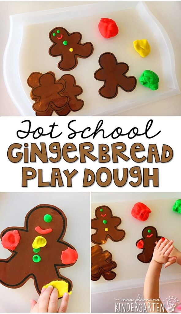 This gingerbread play dough tray was a fun way to incorporate lots of fine motor practice with a gingerbread theme. Great for Christmas time tot school, preschool, or even kindergarten!