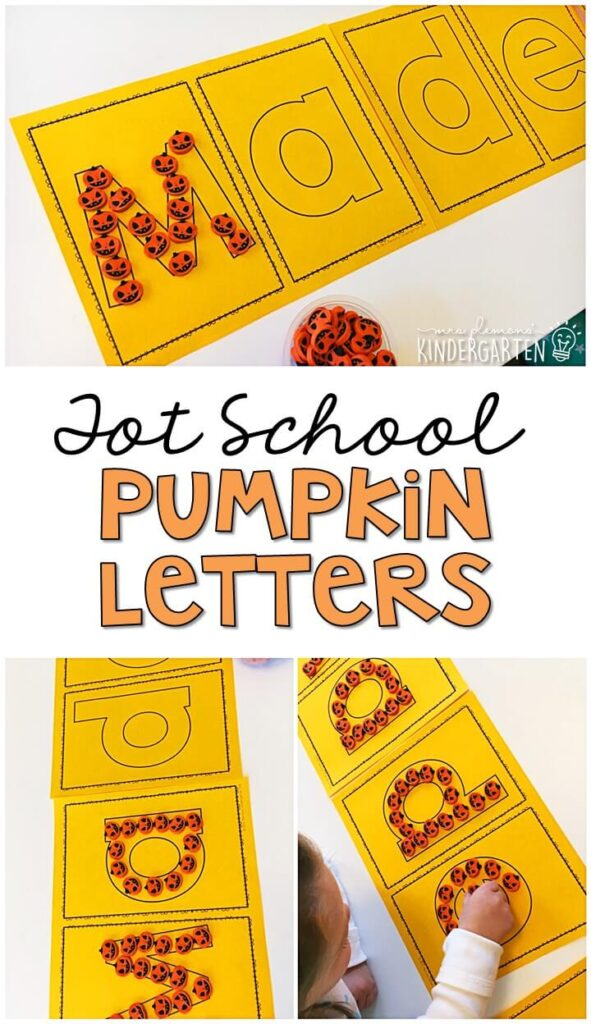 This Halloween sprinkle writing tray is a fun way to practice letters and fine motor skills with a Halloween theme. Great for tot school, preschool, or even kindergarten!
