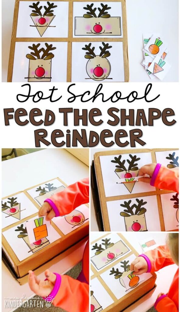 This feed the shape reindeer activity was a fun way to practice identifying shapes and incorporates lots of fine motor practice. Great for Christmas time in tot school, preschool, or even kindergarten!