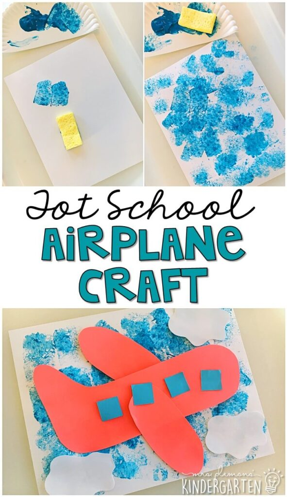 This sponge paint airplane craft turned out so cute and incorporated lots of fine motor practice. Great for tot school, preschool, or even kindergarten!