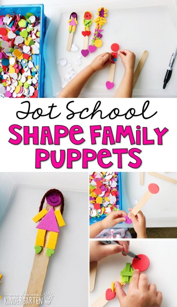 We had so much fun making these shape family stick puppets to work on fine motor skills with an all about me theme. Great for tot school, preschool, or even kindergarten!
