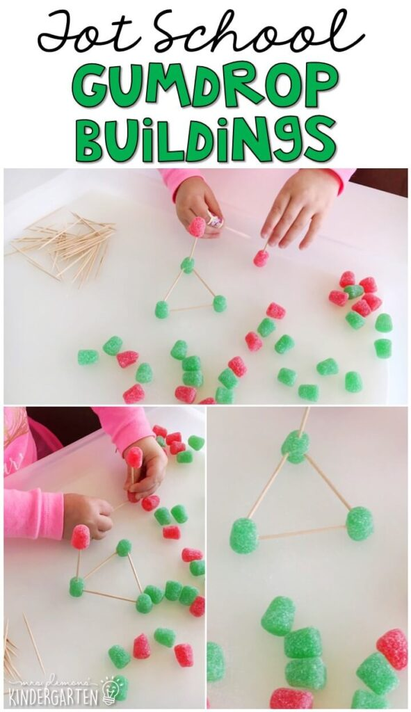 We had so much fun building shapes with gumdrops for fine motor practice. Great for Christmas time in tot school, preschool, or even kindergarten!