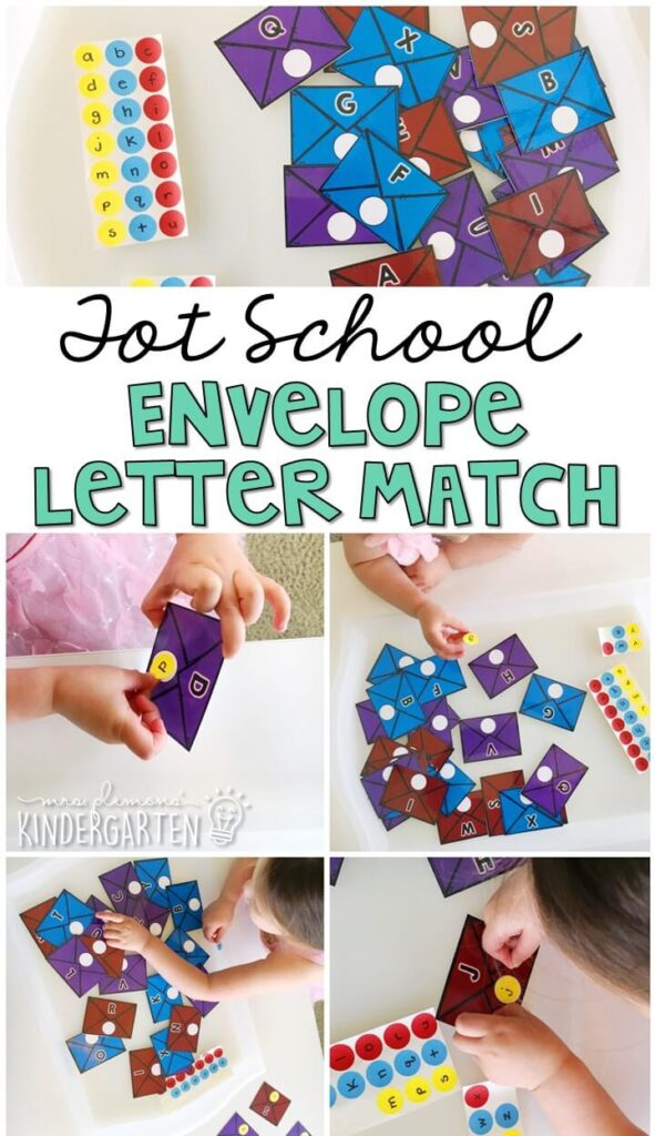 Work on fine motor skills and upper/lowercase letter matching with this community helper themed activity. Grab an envelope with an uppercase letter, then find the matching lowercase letter dot sticker. Great for tot school, preschool, or even kindergarten!