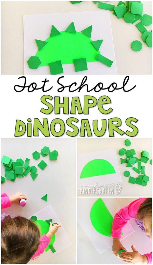 We had so much fun making these shape dinosaurs for our dino theme. Great for tot school, preschool, or even kindergarten!