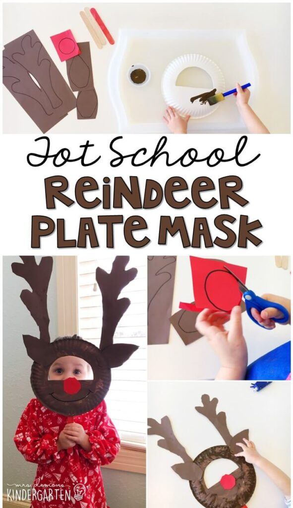We had so much fun making these reindeer plate masks for our reindeer theme. Great for Christmas time in tot school, preschool, or even kindergarten!