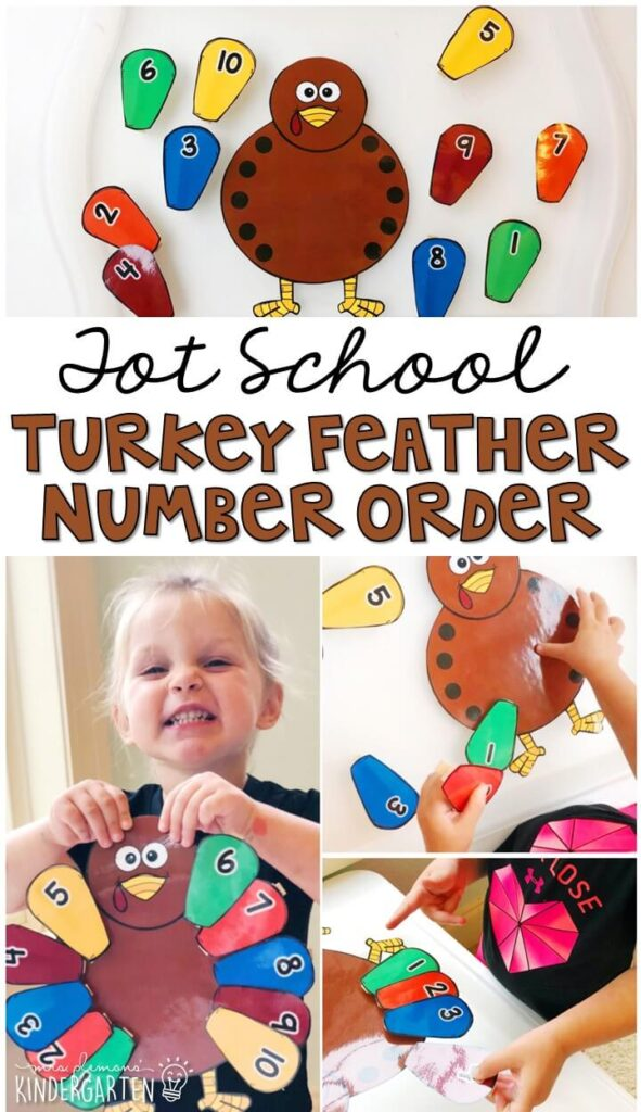 Build number sense and fine motor skills with this turkey feather number order activity. Great for a Thanksgiving theme in tot school, preschool, or even kindergarten!