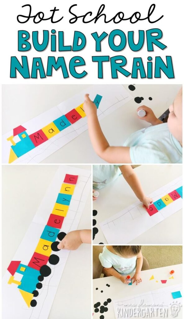 This train name craftivity is fun for name writing, recognition, and fine motor practice with a dinosaur theme. Great for tot school, preschool, or even kindergarten!
