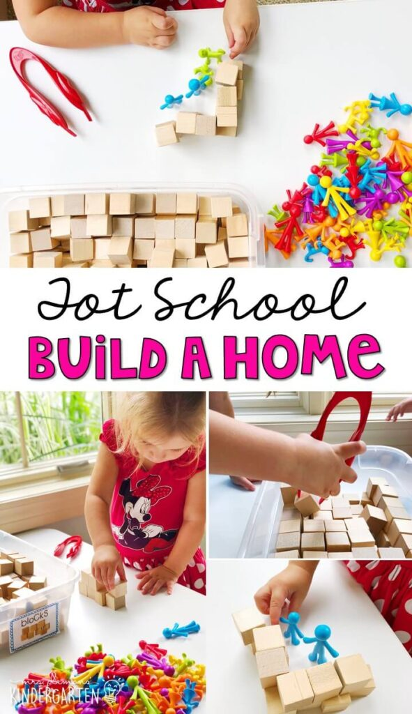 We had so much fun building houses for our family manipulatives. Adding in tweezers was a great way to work on fine motor skills with an all about me theme. Great for tot school, preschool, or even kindergarten!