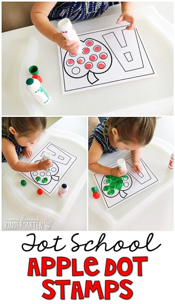We LOVE dot stamps for fine motor practice. Grab these printables with an apple theme. Great for tot school, preschool, or even kindergarten!