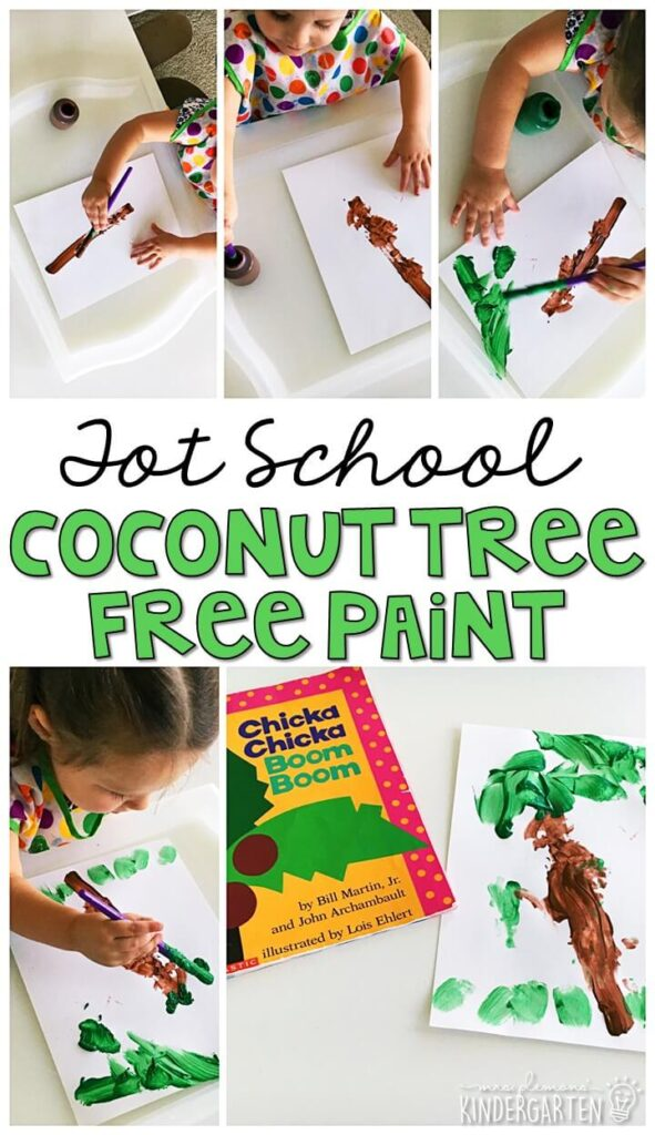 Tons of Chicka Chicka Boom Boom themed activities and ideas. Weekly plan includes books, fine motor, gross motor, sensory bins, snacks and more! Perfect for back to school in tot school, preschool, or kindergarten.