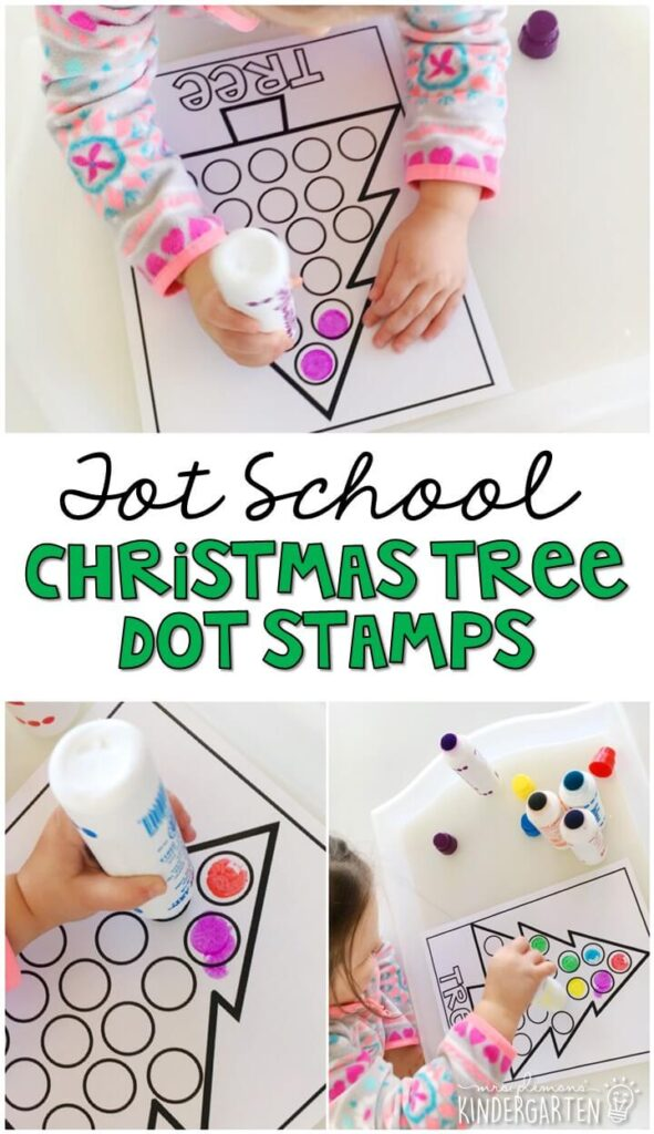 Dot stampers are always a favorite fine motor activity. These dot stamp Christmas trees turned out so cute. Great for Christmas time in tot school, preschool, or even kindergarten!