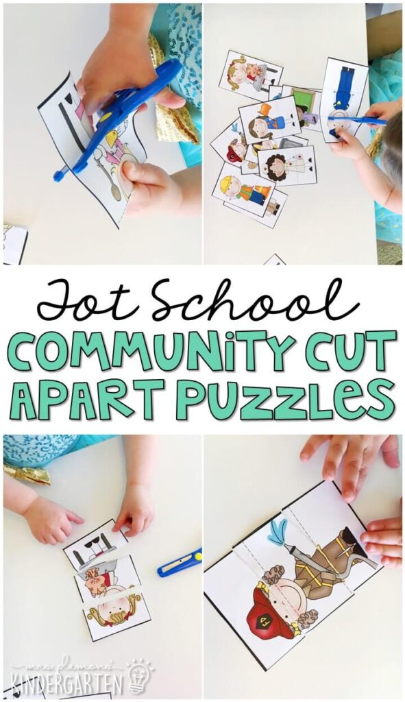 These cut apart community helper puzzles are perfect for practicing beginning scissors skills. Then they are fun to mix and match and put back together. Great for fine motor practice in tot school, preschool, or even kindergarten!