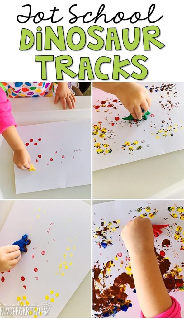 Making dinosaur tracks was an easy and fun way to practice fine motor skills with our dinosaur theme. Great for tot school, preschool, or even kindergarten!