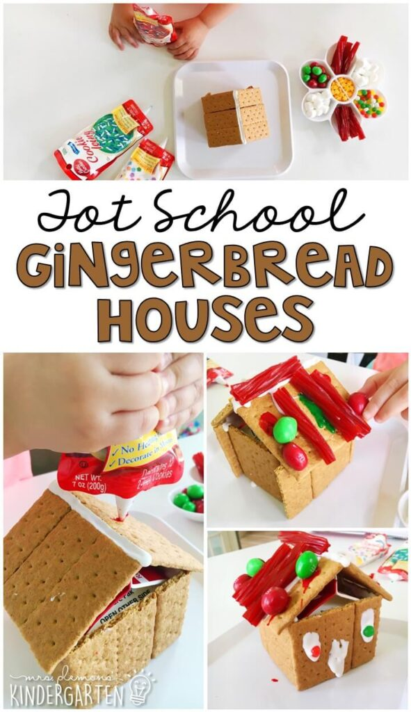 We had so much fun making these gingerbread houses for our gingerbread theme. Great for Christmas time tot school, preschool, or even kindergarten!