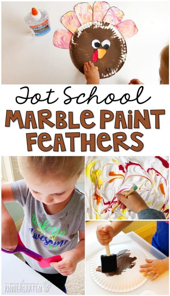Create this beautiful turkey craft by marble painting feathers with shaving cream. Great for a Thanksgiving theme in tot school, preschool, or even kindergarten!
