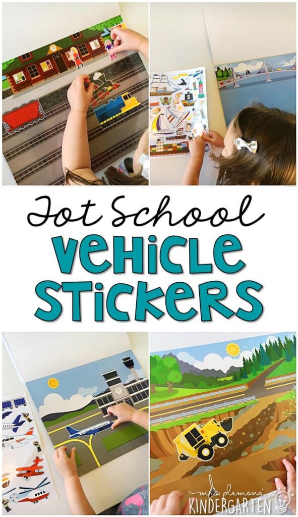 We LOVE these reusable sticker scenes from Melissa & Doug for fine motor practice with a transportation theme. Great for tot school, preschool, or even kindergarten!
