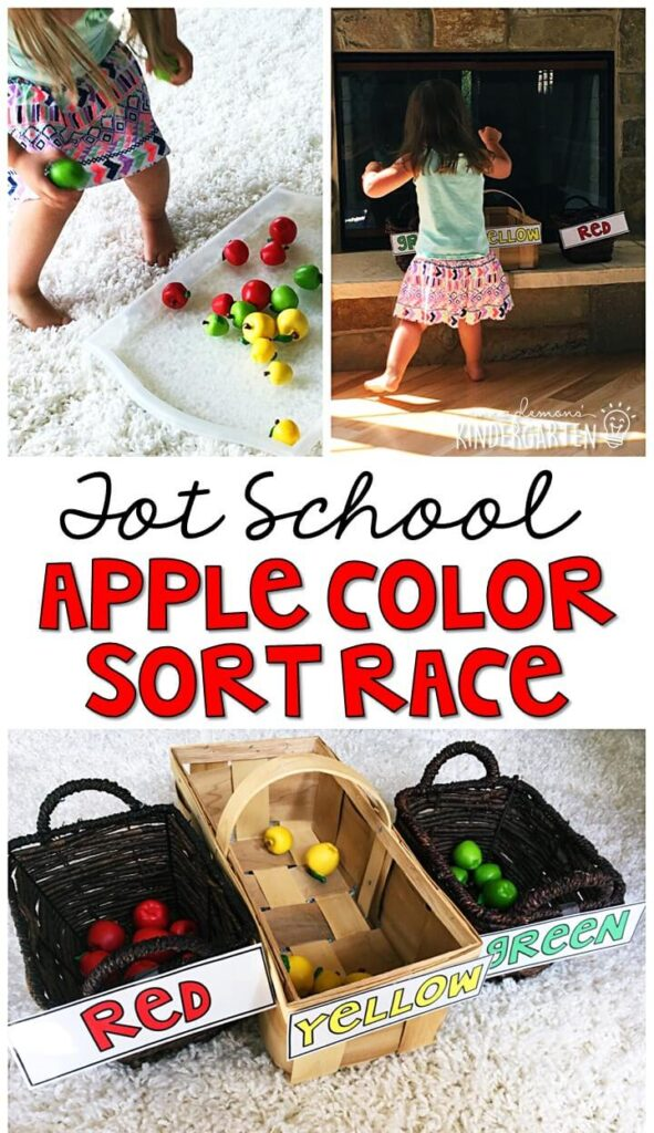 Learning is more fun when it involves movement! Sort by size with an apple themed relay race. Great for tot school, preschool, or even kindergarten!