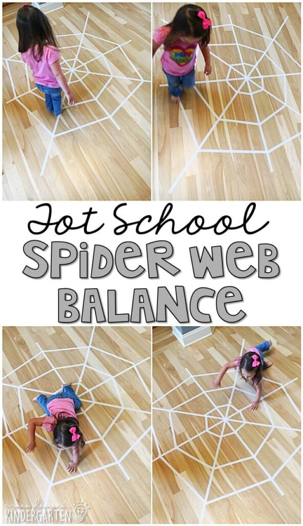 Learning is more fun when it involves movement! Practice balancing, hopping, jumping, crawling, running and more with this giant spider web gross motor activity. Great for tot school, preschool, or even kindergarten!