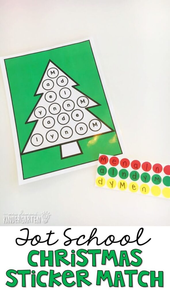 This Christmas sticker letter match was a perfect fine motor activity. Great for Christmas time in tot school, preschool, or even kindergarten!