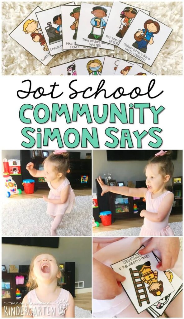 Get moving with these community helper simon says cards. Choose an action card then climb a ladder like a fire fighter, swim like a lifeguard, open wide for the dentist and more! Such a fun interactive gross motor activity. Great for tot school, preschool, or even kindergarten!