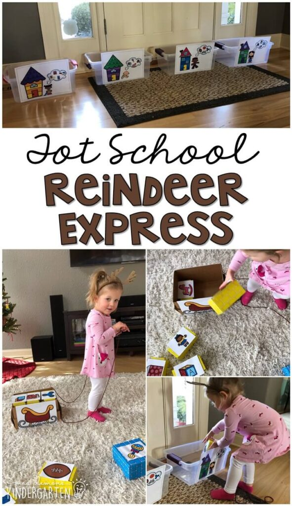 Learning is more fun when it involves movement! Reindeer express was such a fun gross motor activity. Great for Christmas time in tot school, preschool, or even kindergarten!